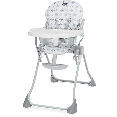 New Chicco Light Grey Pocket Meal Highchair Baby Feeding Reclining High Chair