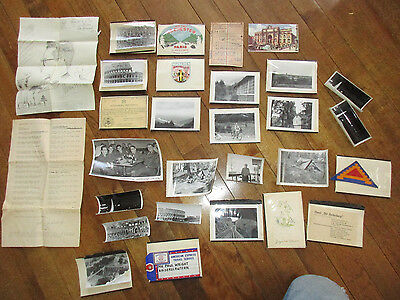 US 1950S 7th Army Germany Scrapbook Photos Patch Orders Rail Ticket Lot etc. (t)