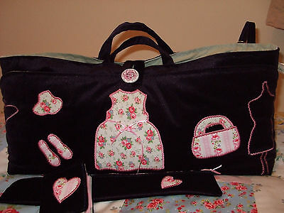 Knitting/sewing Bag Handmade Dress,bag&shoes Applique In Cath Kidston Fabric