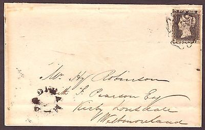 1d Black: Plate 10 (Aug 6th 1841) Cover Padiham to Kirby Lonsdale - Scarce.