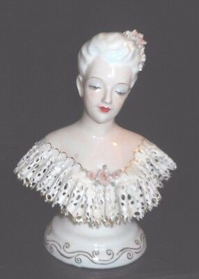 Vintage Dresden Lace Bust of Lady Figurine