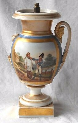 C19Th Paris Hand Painted Vase With Scene Of Solider & Peasant - For Restoration
