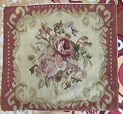 """ANTIQUE 19C AUBUSSON FRENCH HAND WOVEN TAPESTRY CUSHION 18"""" By 18"""""""