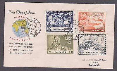 1949 Barbados U.P.U. set on illustrated 1st day of issue cover to Bahamas.