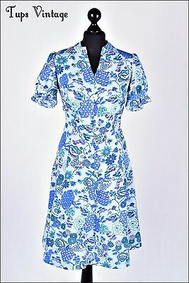 VINTAGE 60s BLUE RETRO FLORAL PRINT MINI MOD SHIFT DRESS TWIGGY 10