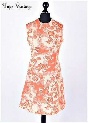 VINTAGE 60s CORAL CREAM RETRO PRINT MINI MOD SHIFT DRESS SCOOTER 8