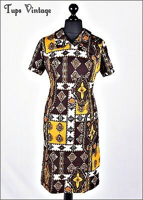 VINTAGE 60s MUSTARD BROWN RETRO PRINT MINI MOD SHIFT DRESS 14