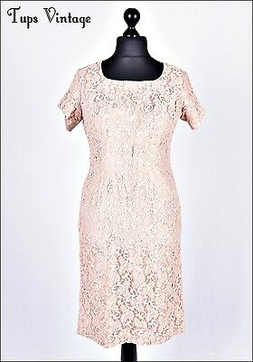 VINTAGE 60s DUSKY PALE PINK LACE MINI COCKTAIL SHIFT DRESS 14