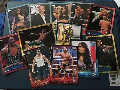 Lot Of 12 Coloured Border WWE Topps 2012-2015 Cards