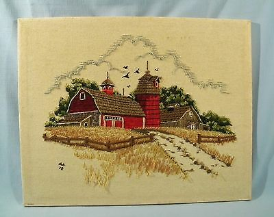 Vintage Country Farm Red Barn Needlepoint Needlework Picture 20 X 16