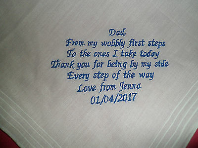 Personalised Wedding Keepsake Handkerchief Hankie Father Of The Bride - To Dad