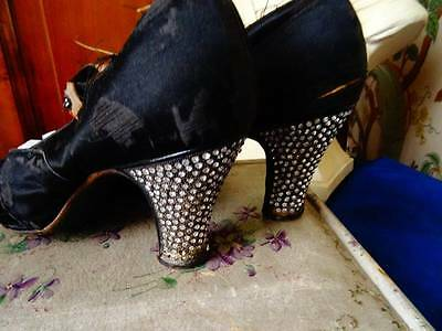 A Loved & Worn 1920/30's French Diamonte Heel Shoes