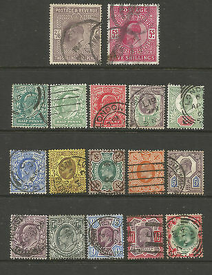 """Gb  Edvii Between Sg215 To 314   """"set Of 15 To 1/- """" + 2/6D +5/-  Fine  Used"""