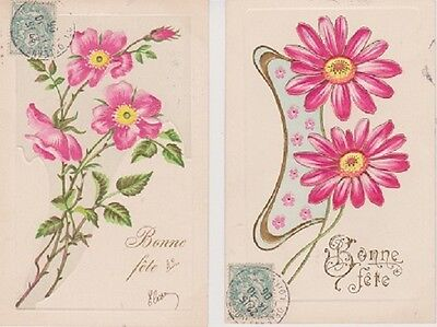 France 1906 Two Embossed Flower Birthday Cards