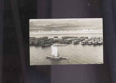 old Papua New Guinea photo postcard, stamp cover cancel