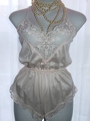 Retro M&s Ultra Femme Teddy Knickers Onesie Playsuit Uk 10+  {Z60