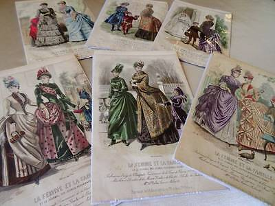 6 Beautiful Antique French Fashion Engravings 1885 (A)