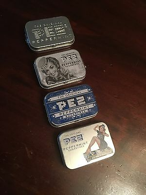 4 Retro Style PEZ Peppermint Candy Collectors Tins Filled With PEZ Mints 4 X 16g