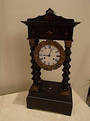 A Napoleon Iii French Table Clock With Wooden Twist Columns For Parts/repair