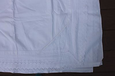 Vintage Hearts Embroidered Cotton Queen Flat Sheet 96 by 120