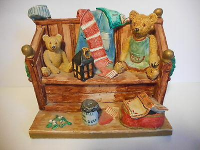 Peter Fagan Colour Box Christmas Carol Singers Bears Sitting On A Bench Figurine