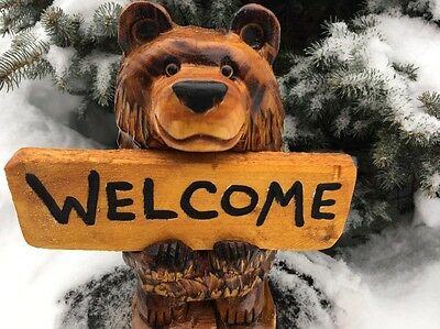 CHAINSAW CARVED BEAR w/ *CUSTOM SIGN* WOOD CARVING White Pine Wood RUSTIC DECOR