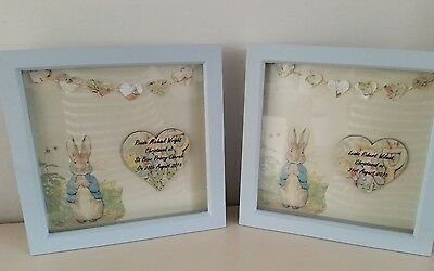 Personalised Peter rabbit picture new baby,christening,boy,baby shower