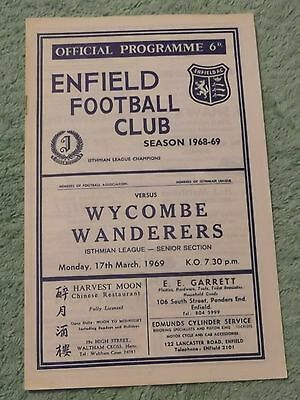 1968/69 Enfield v Wycombe Wanderers Isthmian League