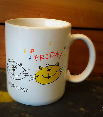 Hallmark Cat Mug: Days of the Week Friday 1985 Vintage collectible mug