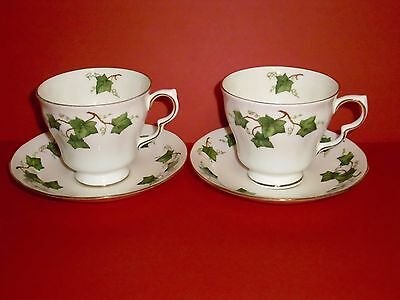 Two Colclough Ivy Leaf Breakfast Cups & Saucers