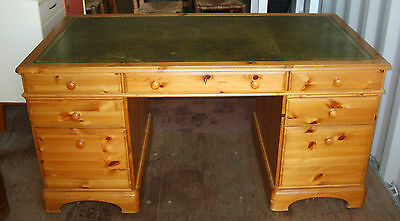 A Large Pine Writing Desk with Tooled Leather Top & lockable Center Draw