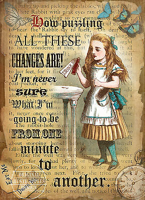 Alice In Wonderland How Puzzling  Retro Style Wall Metal Sign Home Decor Gift