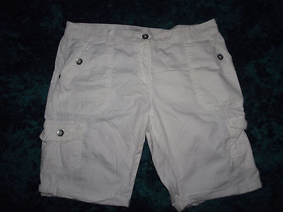 white cotton knee length shorts  size 14