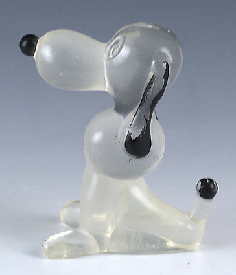 "Vintage 2.5"" Clear Hard Plastic Beagle Dog Figurine Toy Made In Hong Kong"