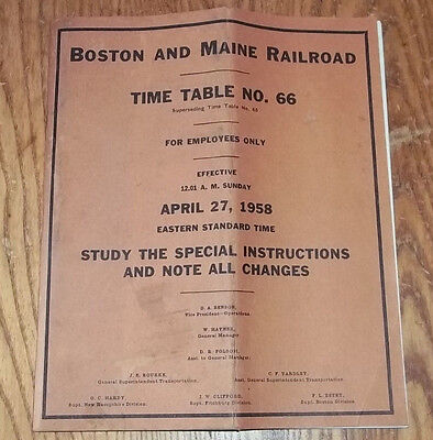 Boston Maine Railroad Time Table No. 66 For Employees Sept 1958 Train