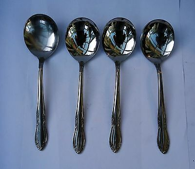 4 Vintage Oneida Stainless Steel Soup Spoons