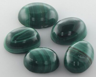 5 PIECES OF 8x6mm OVAL CABOCHON-CUT NATURAL AFRICAN MALACHITE GEMSTONES £1 NR!