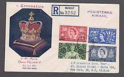 1953 QE11 Coronation O/printed set illustrated cover / Muscat - Reg to the USA