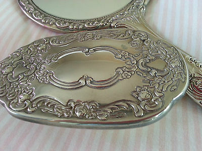 Vintage silver metal dressing table mirror and brush