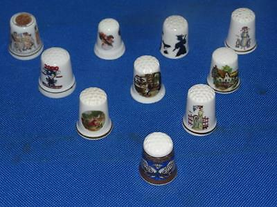 Lot of 10 Different Miscellaneous China Thimbles