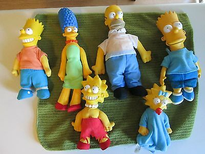 """The Simpsons Family Plush Set, Homer Marg Bart Maggie and Lisa - 12"""" to 8"""" tall"""