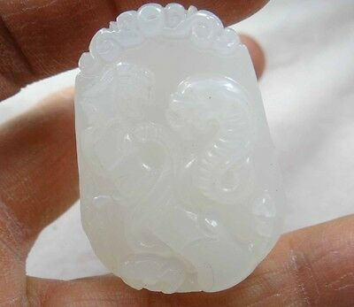 42*30MM Beautiful Chinese jade hand-carved the statue of  snake PENDANT T_5