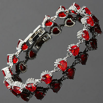 Schmuck Jewelry Gift Red Ruby 18K White Gold Plated Wedding Tennis Bracelet