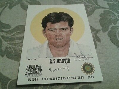Wisden Cricketer Of The Year Ltd Ed Print R.s.dravid Signed