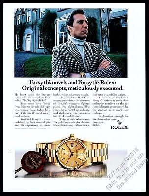 1988 Rolex Day-Date Oyster watch Frederick Forsyth photo vintage print ad