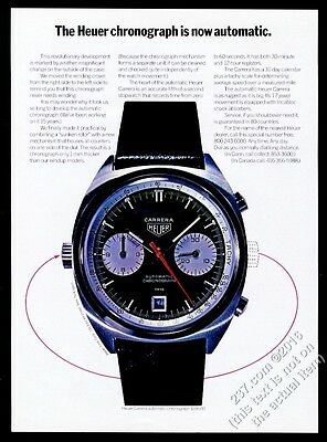 1969 Tag Heuer Carrera automatic chronograph watch color photo vintage print ad