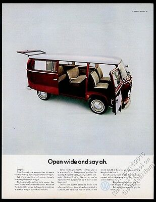 1968 VW Volkswagen bus microbus photo Open Wide and Say Ah vintage print ad