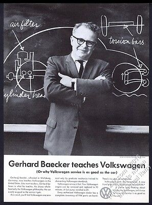 1959 VW Volkswagen Beetle on blackboard chalkboard photo vintage print ad