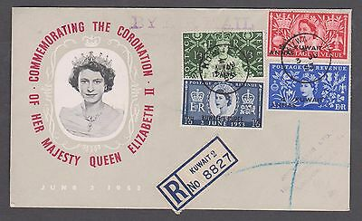 1953 QE11 Coronation (Kuwait ) O/printed set on illustrated (K2)registered cover