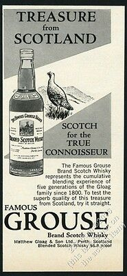 1960 Famous Grouse Scotch whisky bottle and bird art vintage print ad